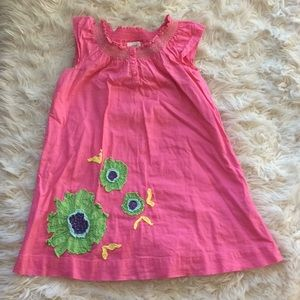 Mini Boden smock florwer appliqué pink dress 3-4